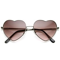 Small Thin Metal Heart Shaped Frame Cupid Sunglasses