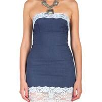 Strapless Lace Trim Denim Dress