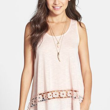 Painted Threads Crochet Hem Tunic Tank (Juniors) | Nordstrom