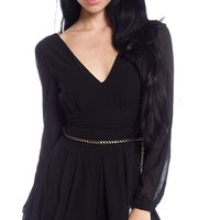 Romantic Romper Long Sleeve Chiffon Playsuit - Black