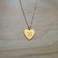 F Off Heart Necklace - $52