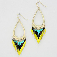 Teardrop Seed Bead Dangle Earrings Turquoise Yellow