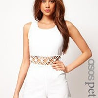 ASOS Petite | ASOS PETITE Exclusive Playsuit With Cut Out Waist at ASOS