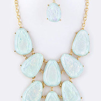 Iridescent Statement Necklace Mint