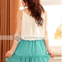 YW Stylish Bead Elastic Waist Lotus Leaf Hem Women Dresses - DinoDirect.com