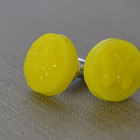 Yellow Butterfly Earrings, Canary Yellow Stud Earrings, Pressed Glass, Yellow Post Earrings, Sterling Silver, Petite and Dainty