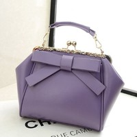 Retro Fashion Leather Bow Shoulder Bag