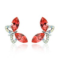 MagicPieces Women's Red Rhinestone Butterfly Stud Earrings