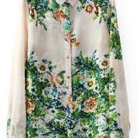 Street-chic Floral High-low Shirt - OASAP.com