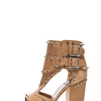 Deric Calfskin Leather Heels in Beige & Silver