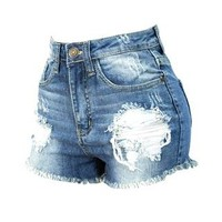 DESTRUCTED FRAYED HEM SHORT