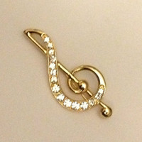 Treble Clef Rhinestone Goldtone Brooch Monet Signed Pin Vintage Mint Condition