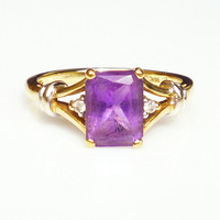 Vintage Ring 14K Gold Diamond Amethyst Gemstone Jewelry