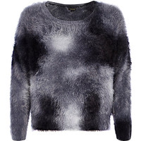 Grey splash print fluffy sweater - sweaters - knitwear - women