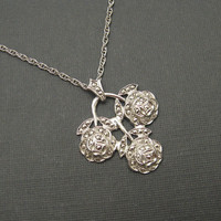 Vintage Necklace Marcasite Rose  Pendant Large Gorgeous NK53