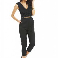 Black Wrap Front Gold Belt Jumpsuit