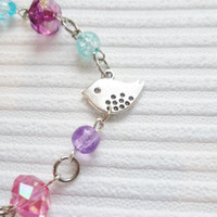 silver bird bracelet purple pink beaded bracelet silver bird charm bracelet pink bead bracelet fashion jewellery handmade bracelet for women