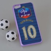 MagicPieces Plastic Snap on Case with Shaking Rhinestones for iPhone FIFA World Cup 2014 FFF BENZEMA 10 for iPhone5C Color Purple