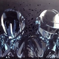 Daft Punk Pop Art - Original Hand Painting 24x36 on MDF Wood Panel - Fan Art
