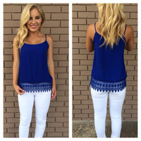 Turn Over a New Leaf Top - Royal Blue