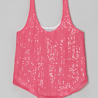Neon Pink Sequin Layered Tank - Girls | something special every day
