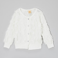 White Rosette Cardigan - Girls | something special every day