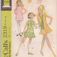 Vintage 1970s pattern for girls drop waist mini dress with pleated or flounced skirt,  size 14 breast 32 McCalls 2319 UNCUT