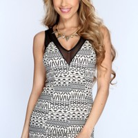Black Cream Sleeveless Printed Sexy Party Dress