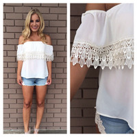 Ivory Eyelet Off Shoulder Top