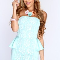 Mint Floral Lace Peplum Sexy Dress
