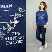 vintage 1980's oversized GRUMMAN AEROSPACE aircraft engineering NOVELTY navy fighter sweatshirt, extra small-small