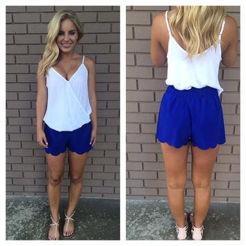 Laser Cut Shorts - Royal Blue