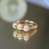 Gold Ring with Gold Stardust Beads by whiteliliedesigns on Etsy