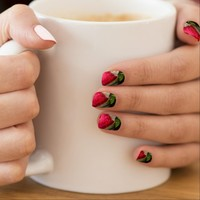 """Dew-Covered Red Rose"" Photo Nail Art"