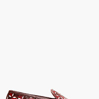 BURGUNDY LEATHER OFFSET CUT-OUT LOAFER