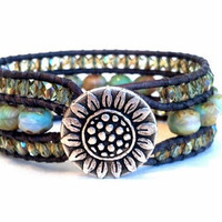 Pastel Cuff Leather Wrap Bracelet Sunflower Button by PZWDesign