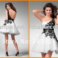 Wholesale Hot Sale White Organza Black Lace A line Short Mini One Shoulder Cocktail Dress