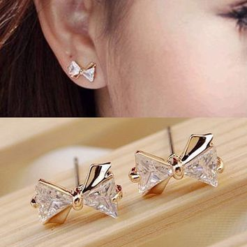 Bow Zircon Crystal Earrings