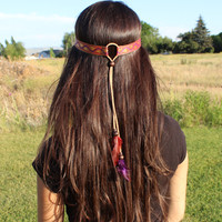 Red Celtic Wave Hippie Boho Jacquard Ribbon Leather Feather Headband. Women Gift, Hair Jewelry