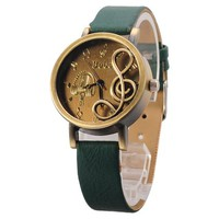 Vintage Creative Design PU Leather Music Score Scale Women Girls Watch