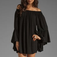 Indah Kamani Flounce Ruffle Edge Mini Dress in Black