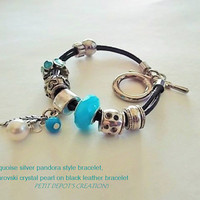 Turquoise Silver Bracelet, White Swarovski Pearl on Black leather bracelet