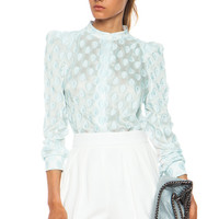 Medallion Jacquard Blouse in Ash Grey