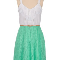 Belted lace skirt chiffon ruffle top Dress