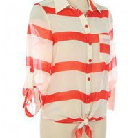 NAUTICAL STRIPES BUTTON DOWN SHIRT-Casual Tops-Casual Tops,Cute Casual Tops,trendy casual tops,Women's Casual Tops,Ladies Casual Tops,long casual tops,casual knit top