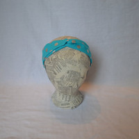 Knotted headband- Teal and metallic silver pokadots