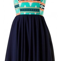 Navy Tribal Chiffon Dress - 29 N Under