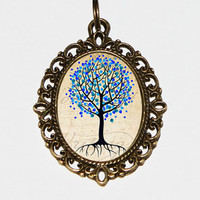 Blue Tree Pendant Necklace