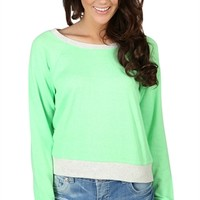 Long Sleeve Cropped French Terry Top with Heather Grey Binding