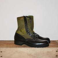 Vintage Vietnam US Jungle Boots 1967 Green Jungle Boots Spike Protective Stamped 6 -67